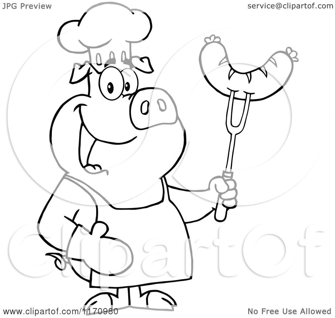 Cartoon Of An Outlined Chef Pig Holding A Sausage On A Bbq