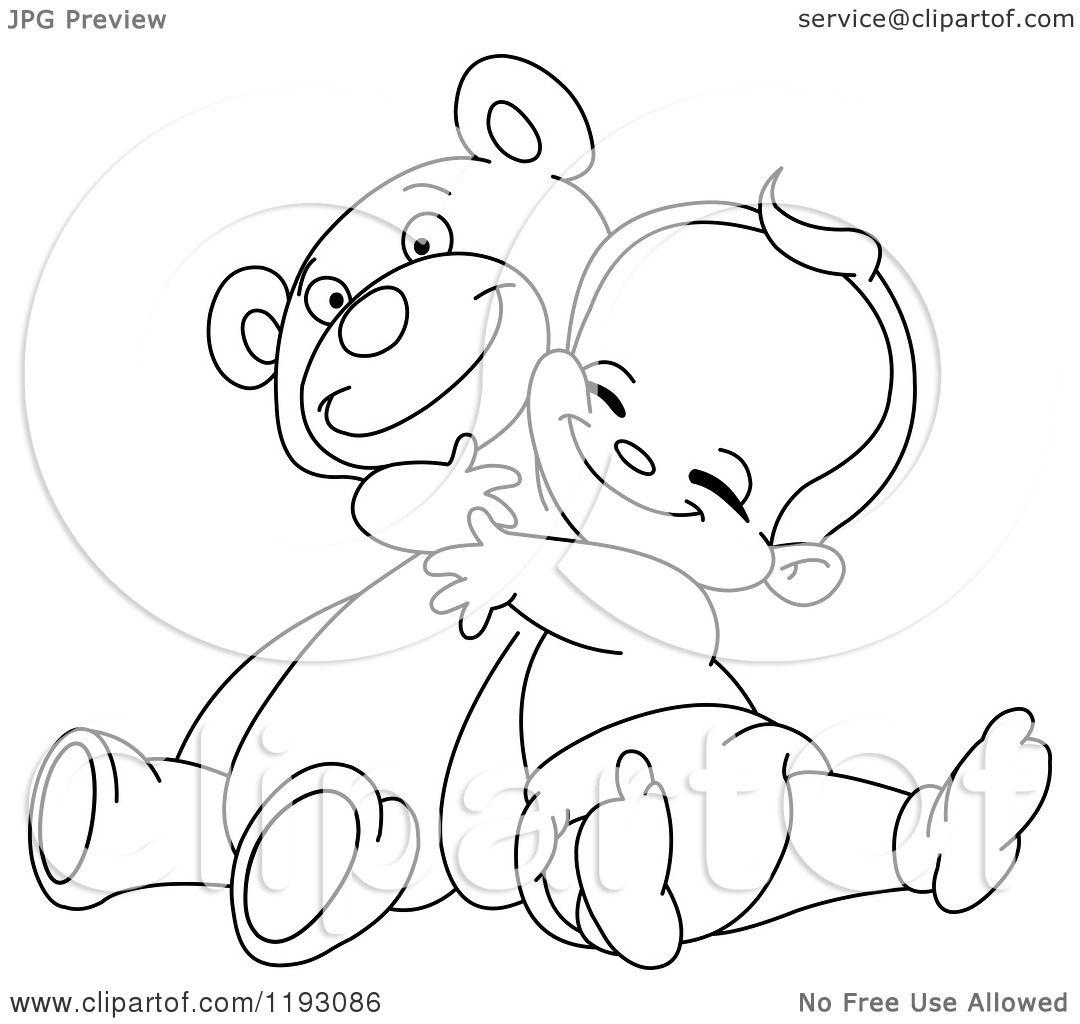 Cartoon Of An Outlined Happy Baby Boy Hugging A Teddy Bear