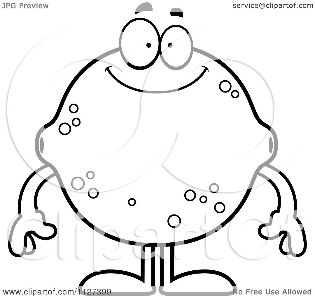 Cartoon Of An Outlined Happy Lemon Or Lime Mascot