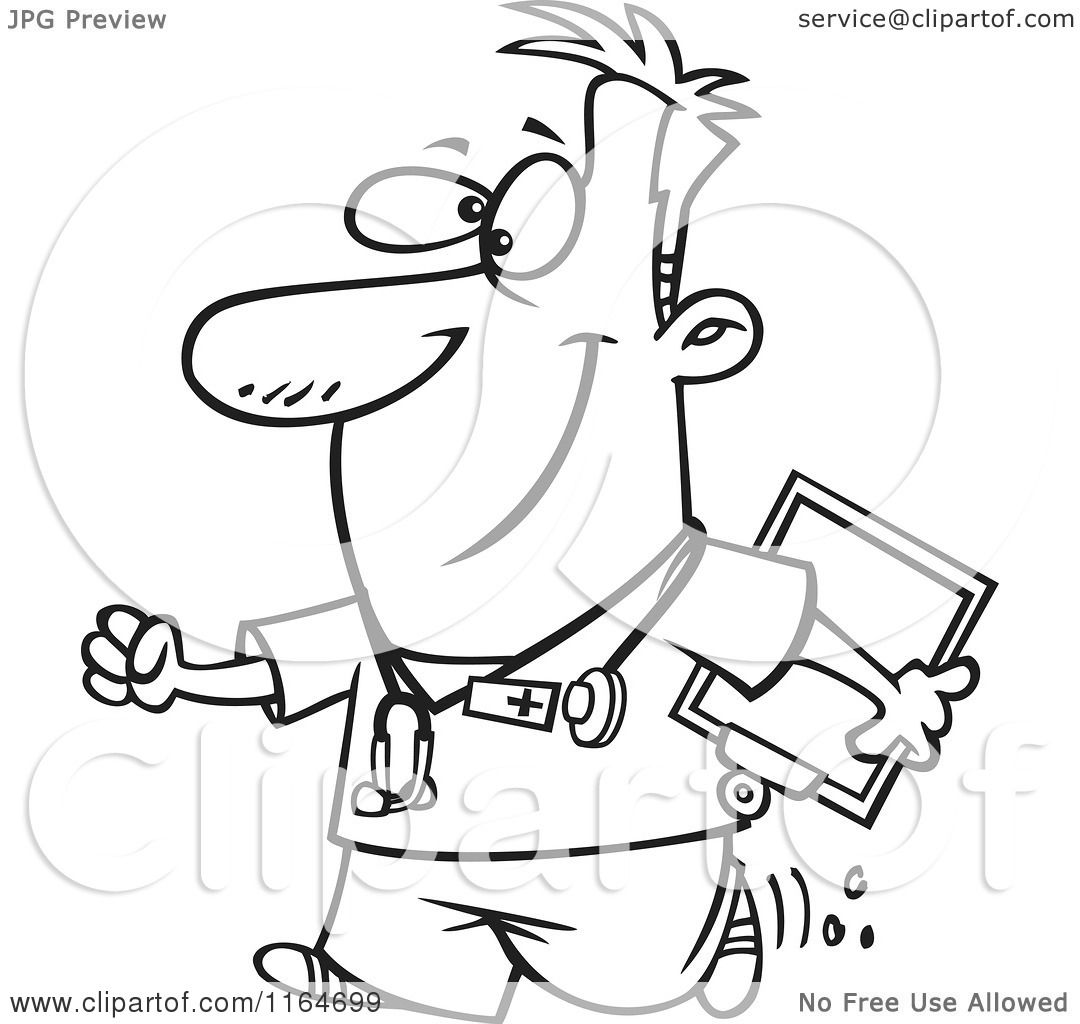 Cartoon Of An Outlined Happy Male Nurse Carrying A