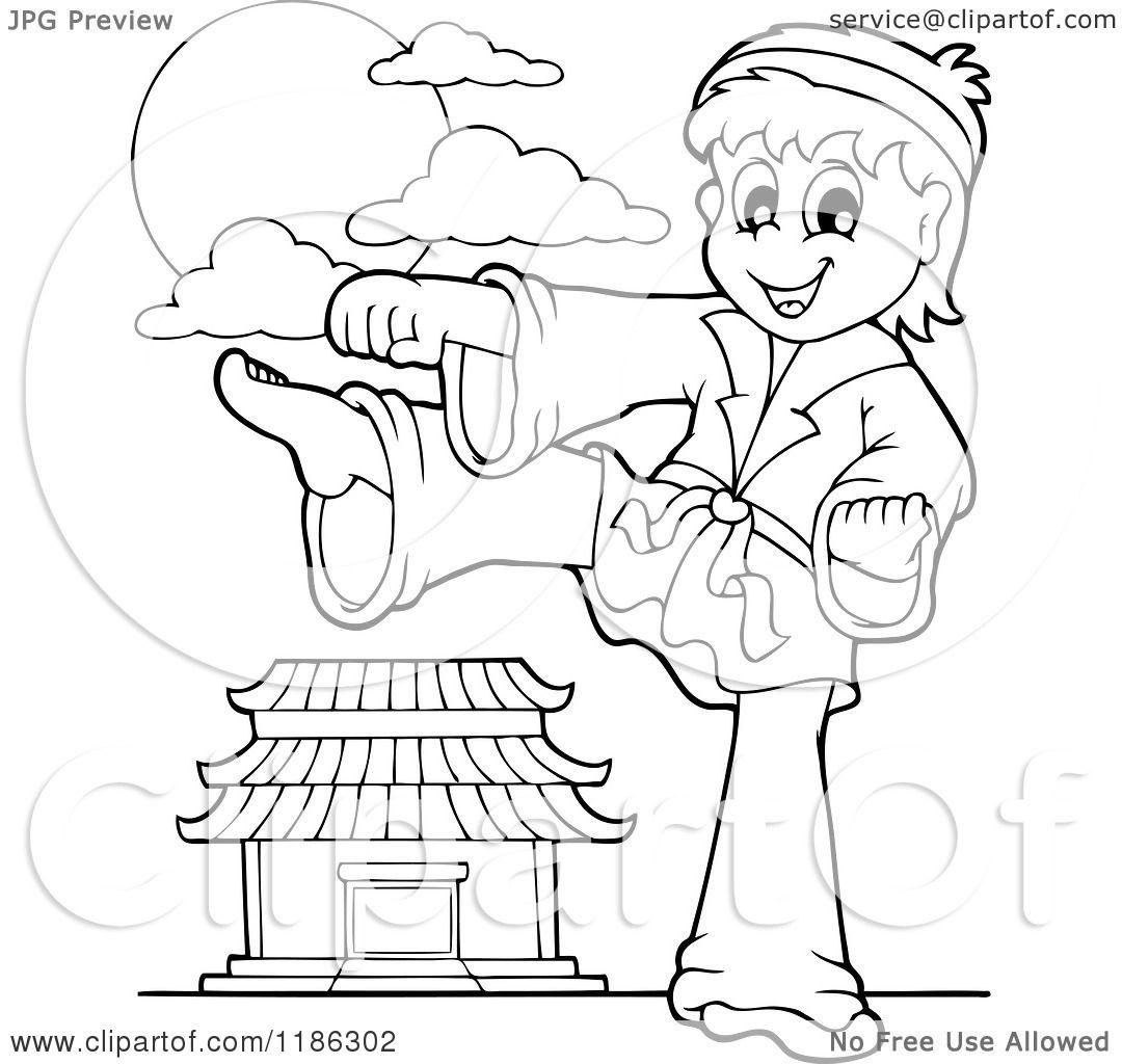 Cartoon Of An Outlined Kicking Karate Boy