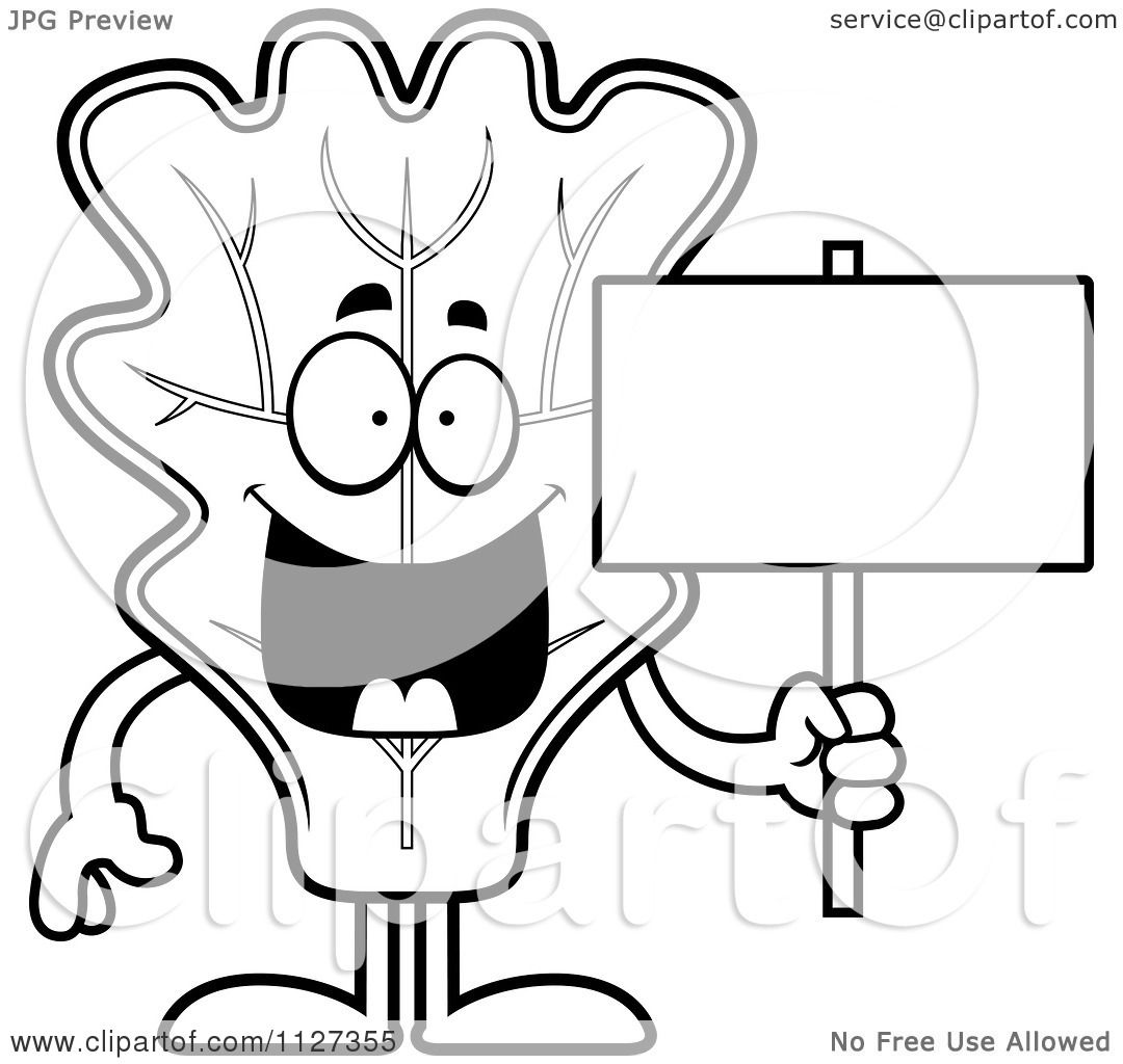 Cartoon Of An Outlined Lettuce Mascot Holding A Sign