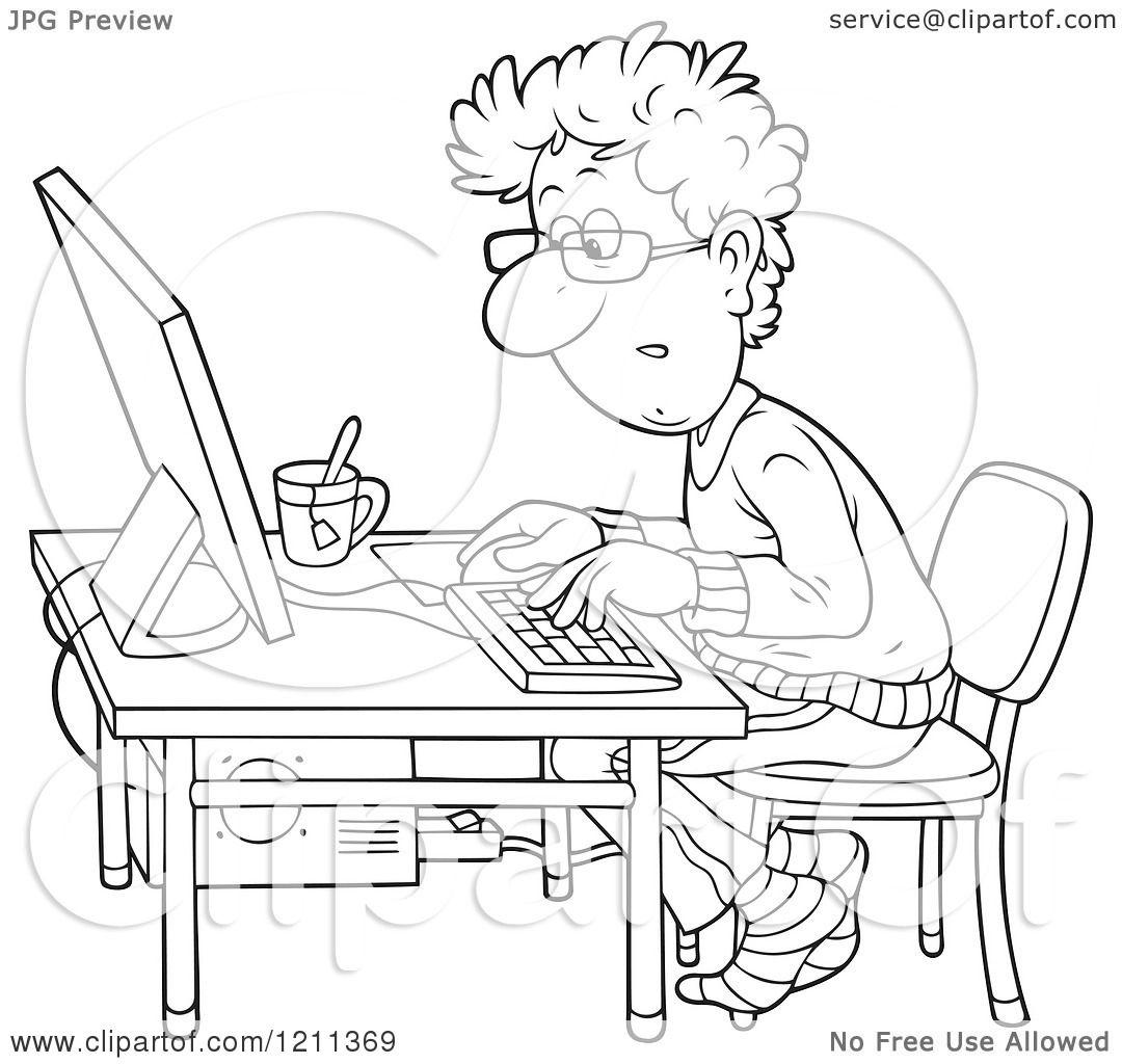 sick man at desk cartoon