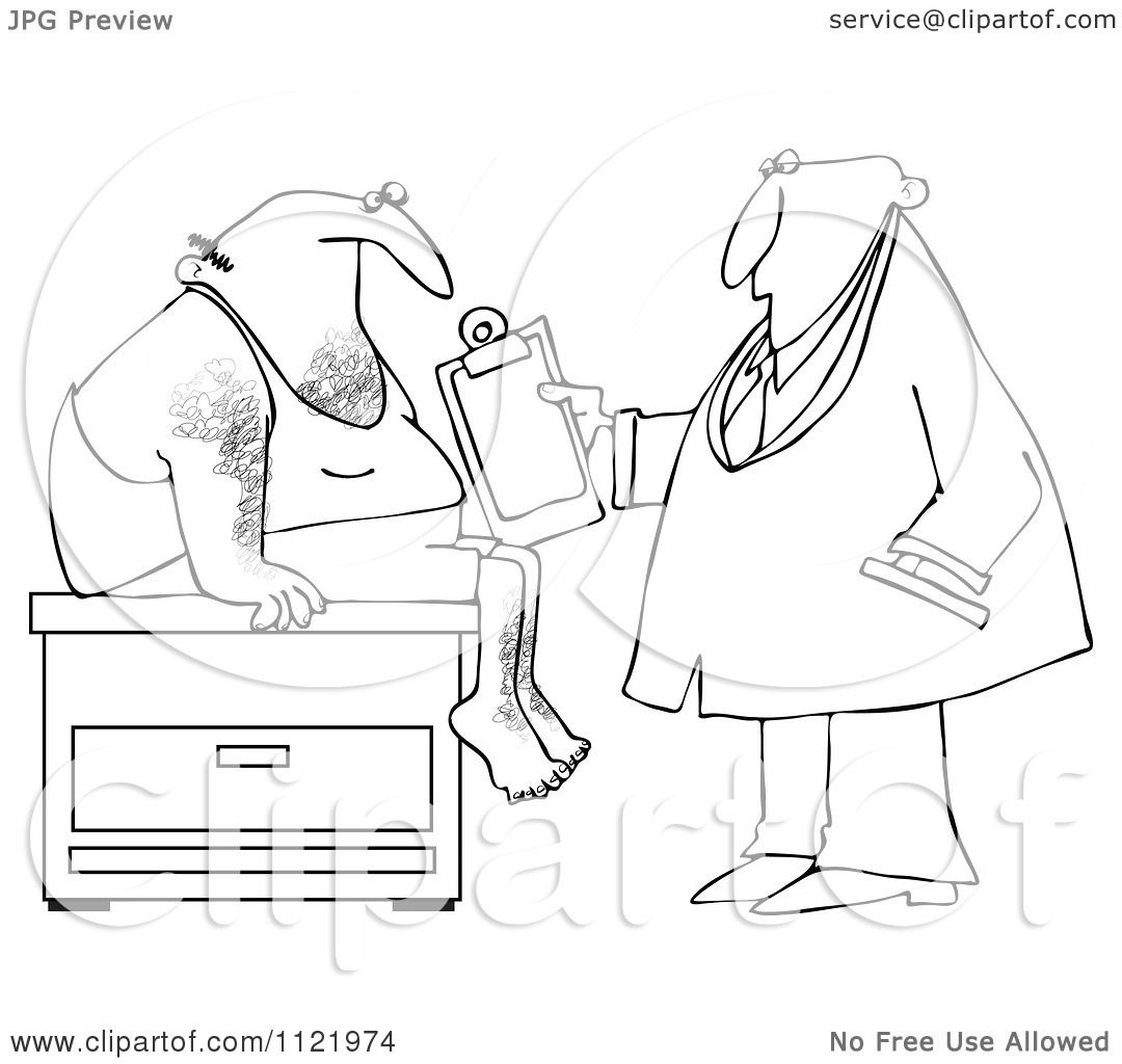 Cartoon Of An Outlined Medical Doctor Examining A Male