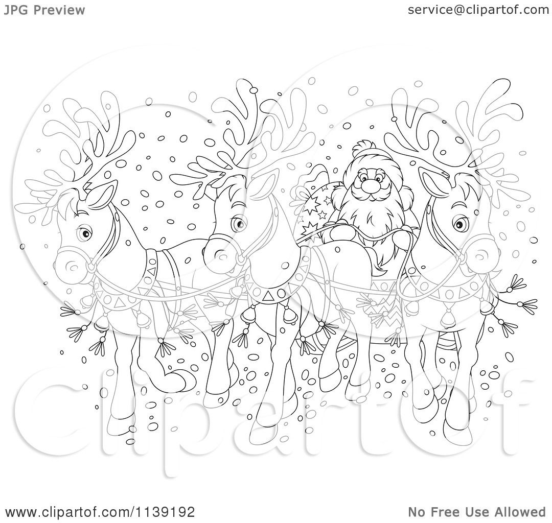 Cartoon Of An Outlined Santa And Reindeer Sleigh