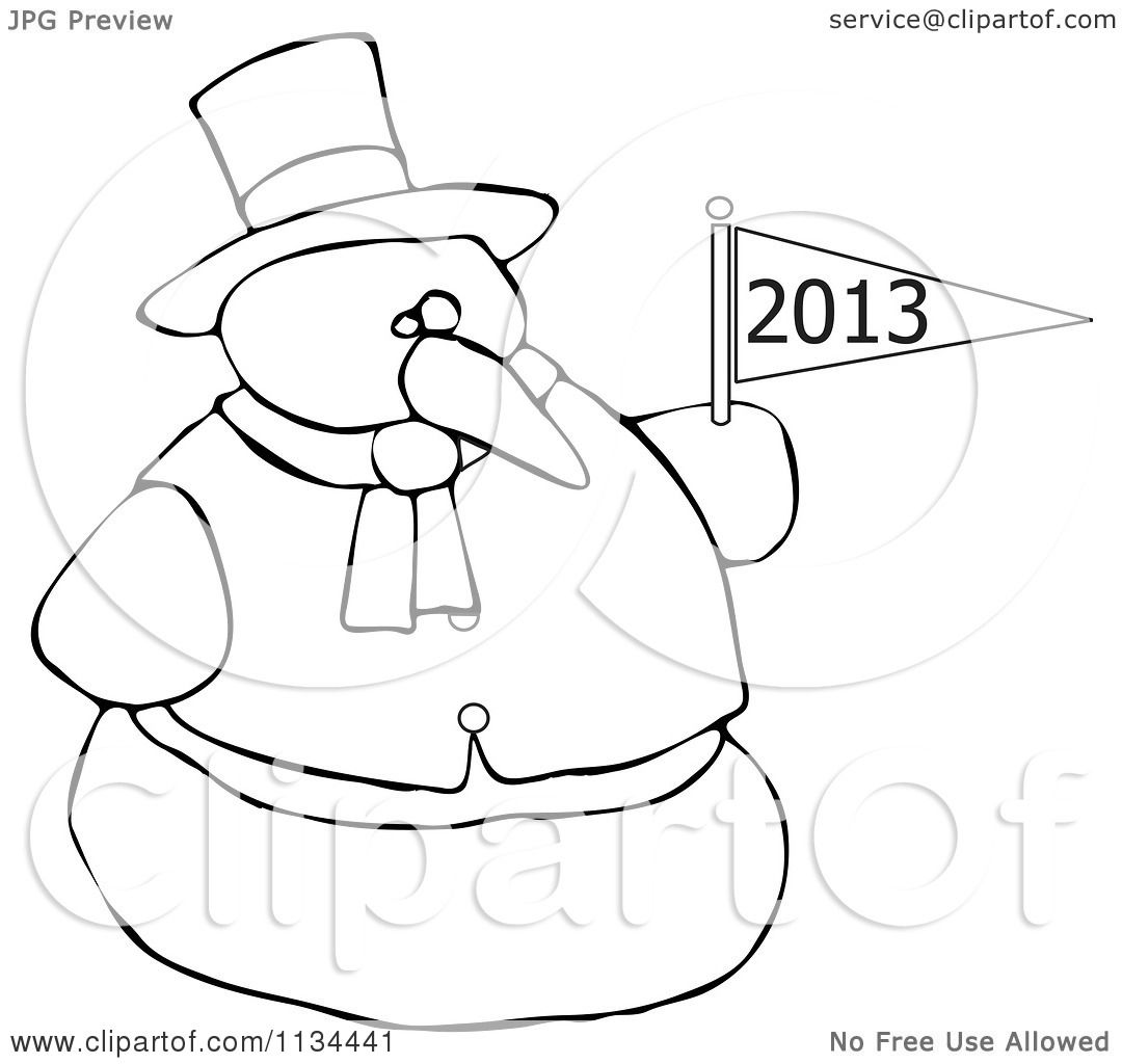 Cartoon Of An Outlined Snowman Holding A New Year