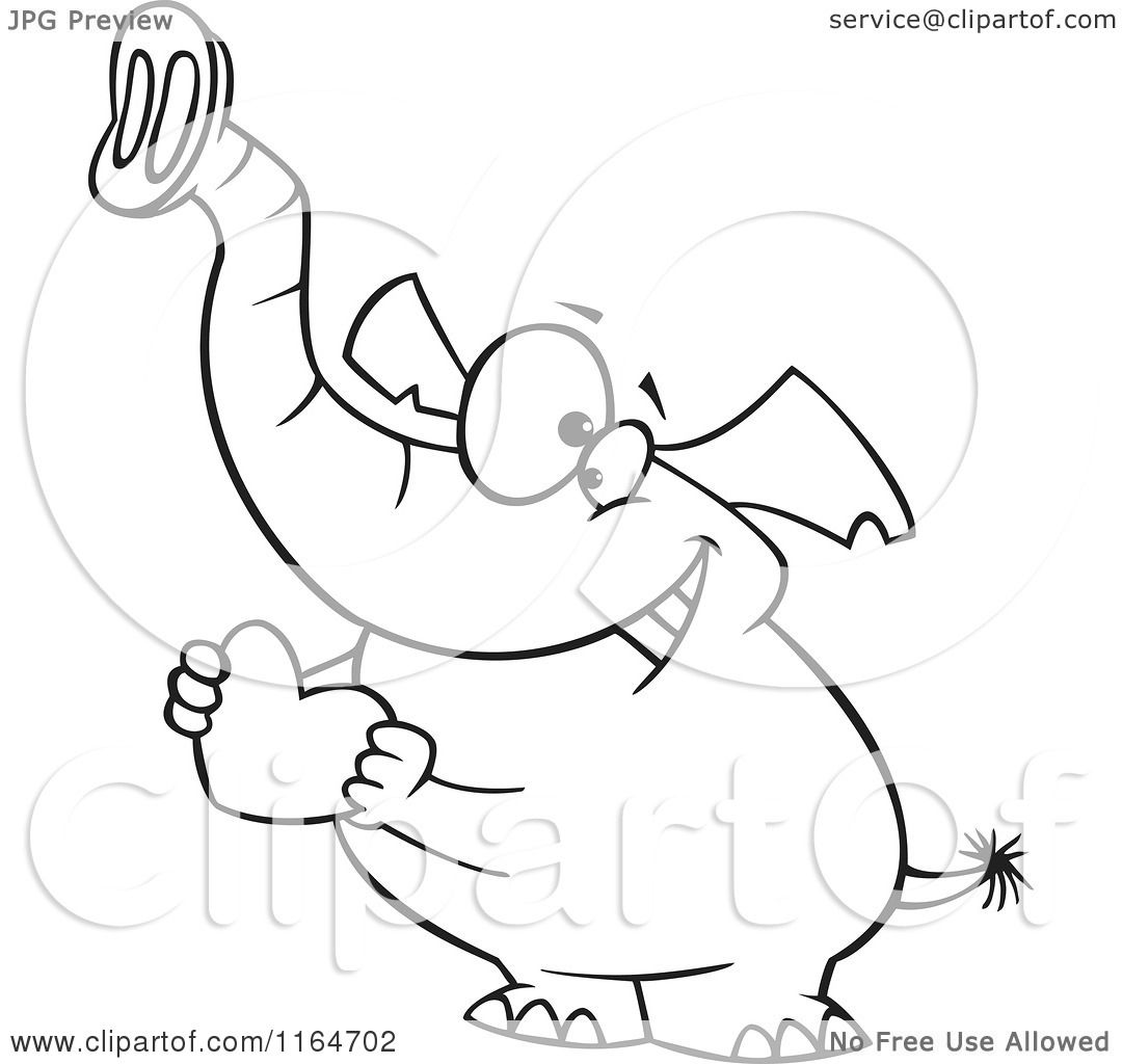 Cartoon Of An Outlined Sweet Elephant Holding A Red