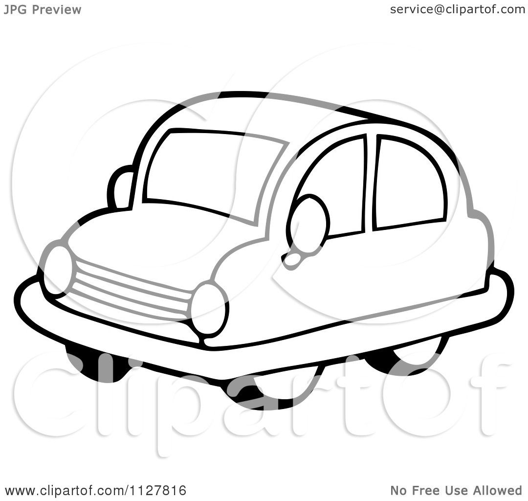 Cartoon Of An Outlined Toy Car