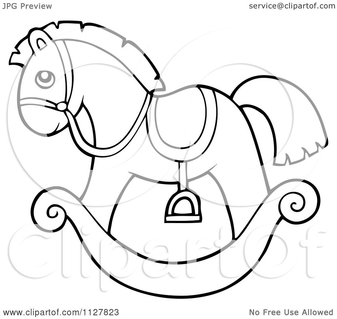 Cartoon Of An Outlined Toy Rocking Horse