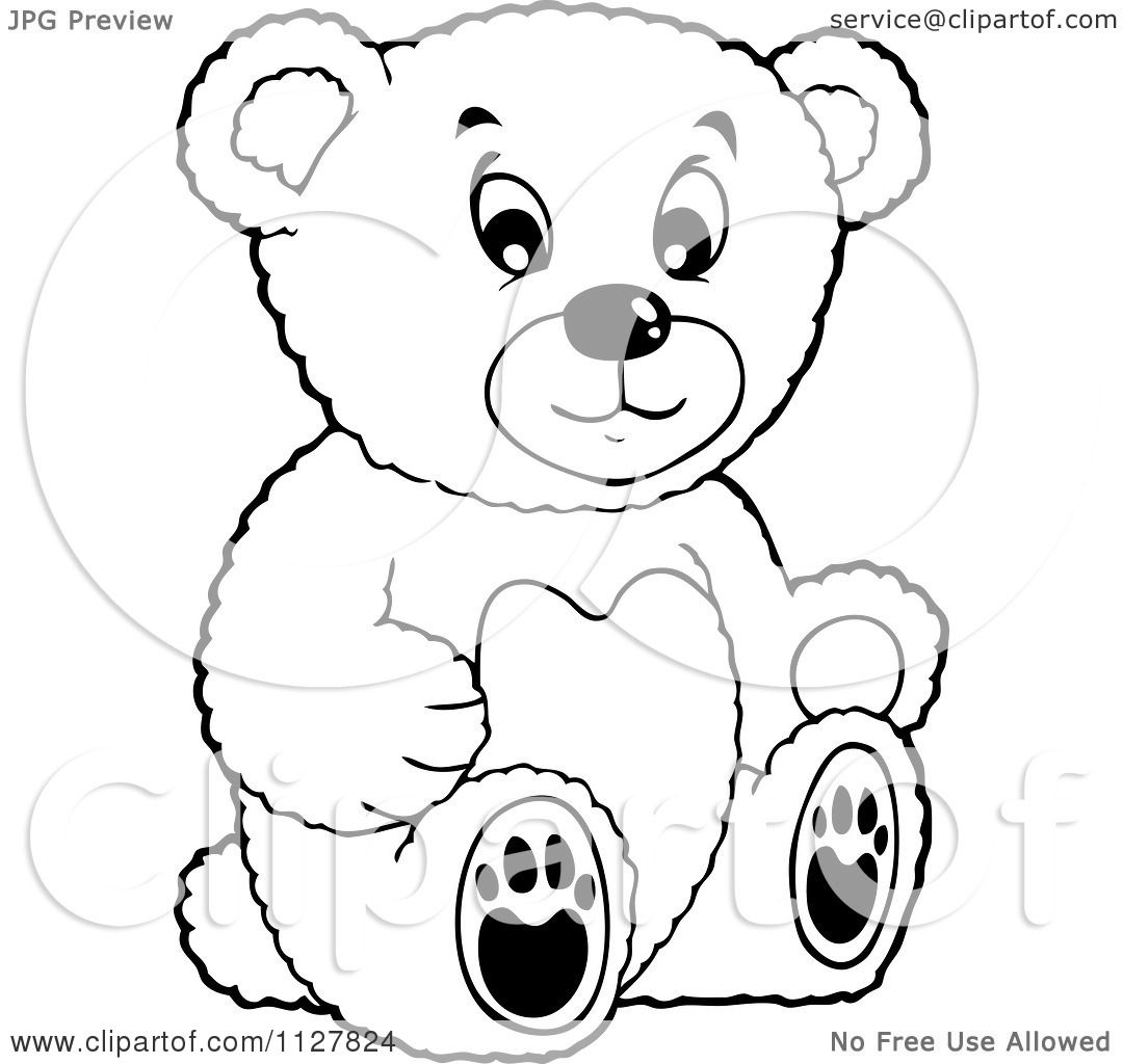 Cartoon Of An Outlined Toy Teddy Bear