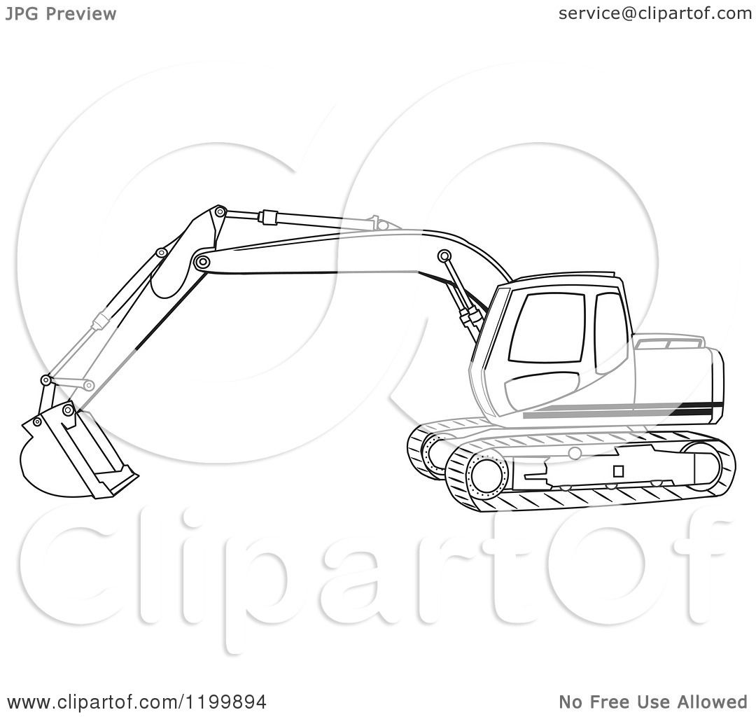 Cartoon Of An Outlined Trackhoe Excavator