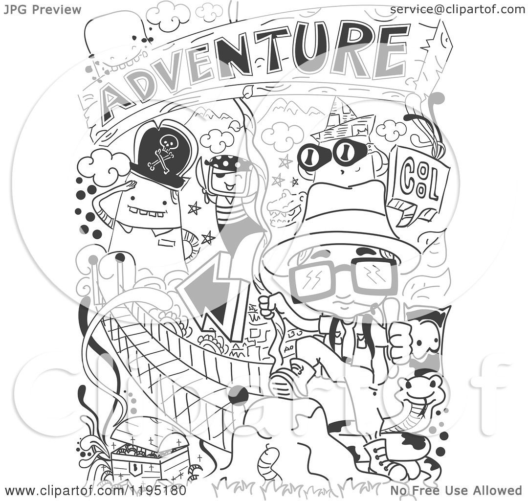 Cartoon Of Black And White Adventure Doodles Royalty