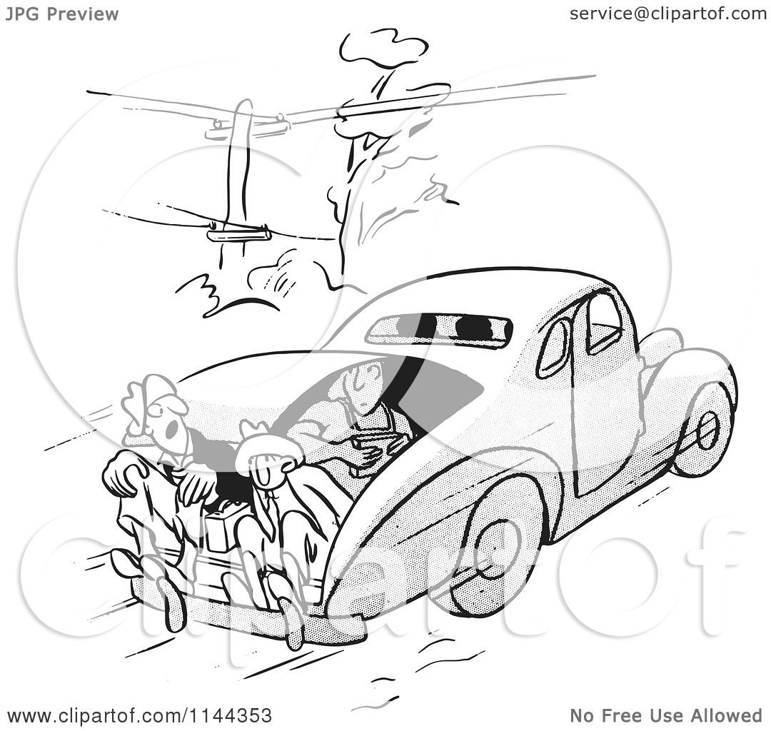Cartoon Of Black And White Car Pool Passengers Riding In