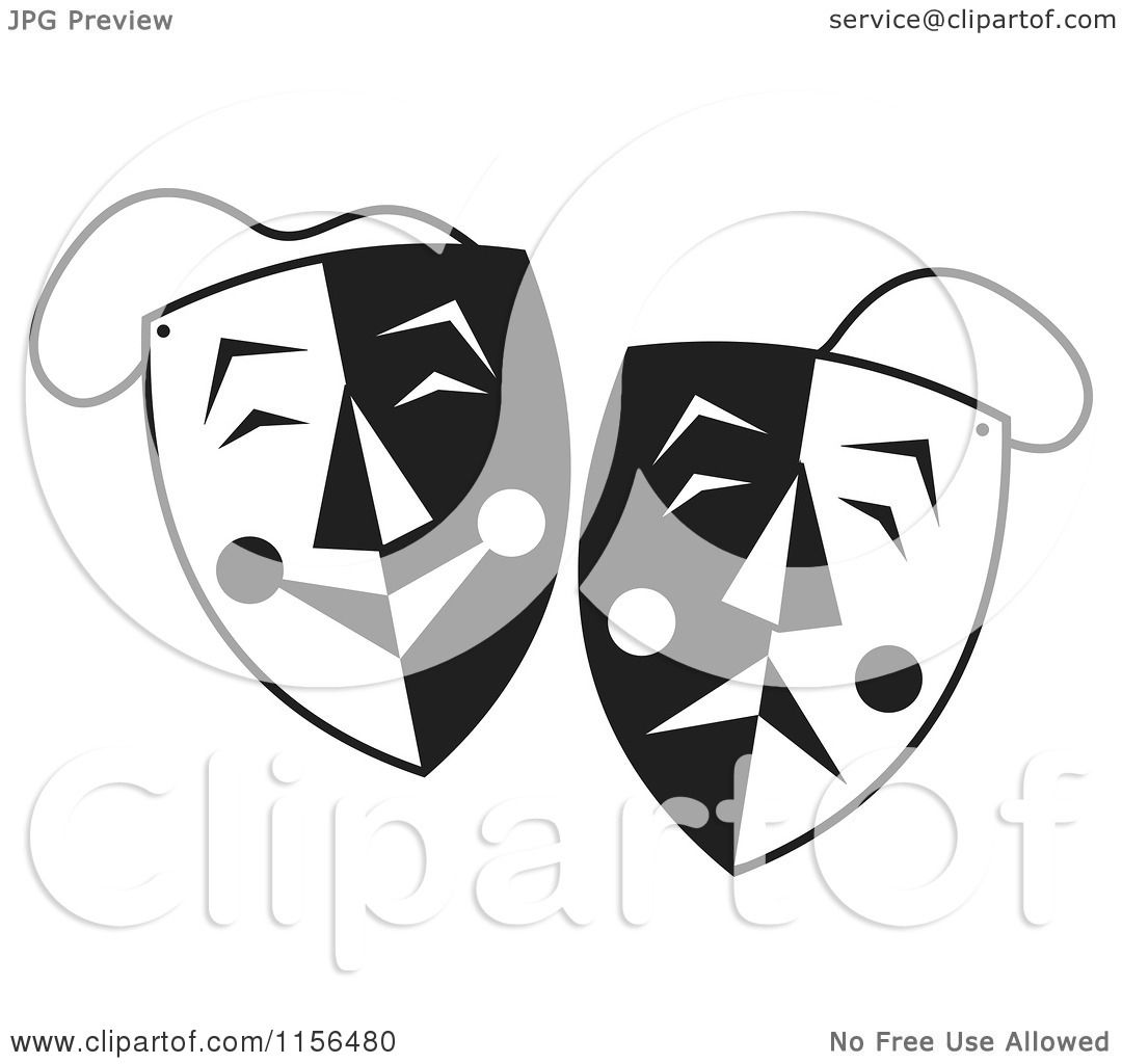 Cartoon Of Black And White Comedy Drama Theater Masks