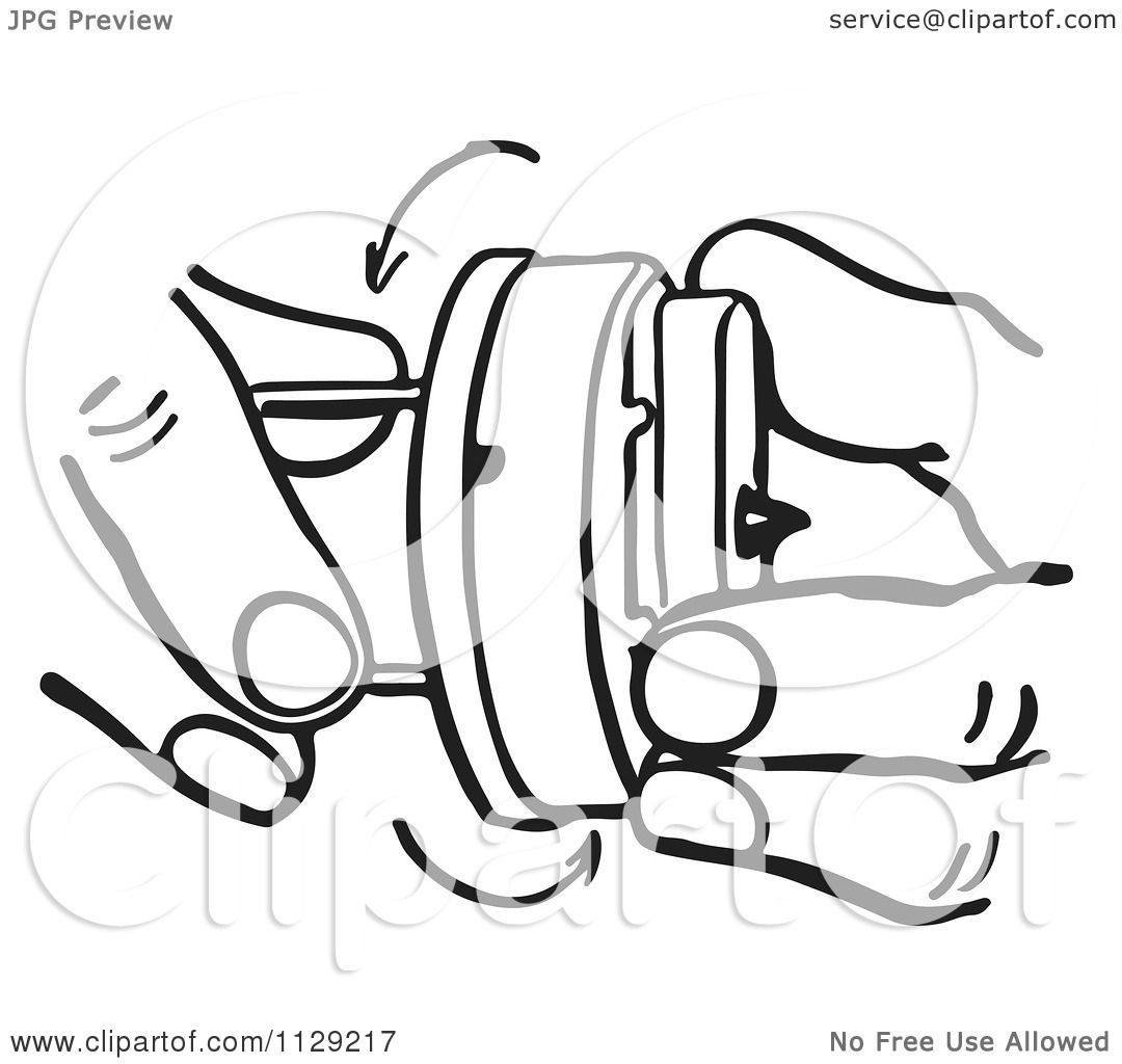 Cartoon Of Black And White Retro Hands Winding A Novelty
