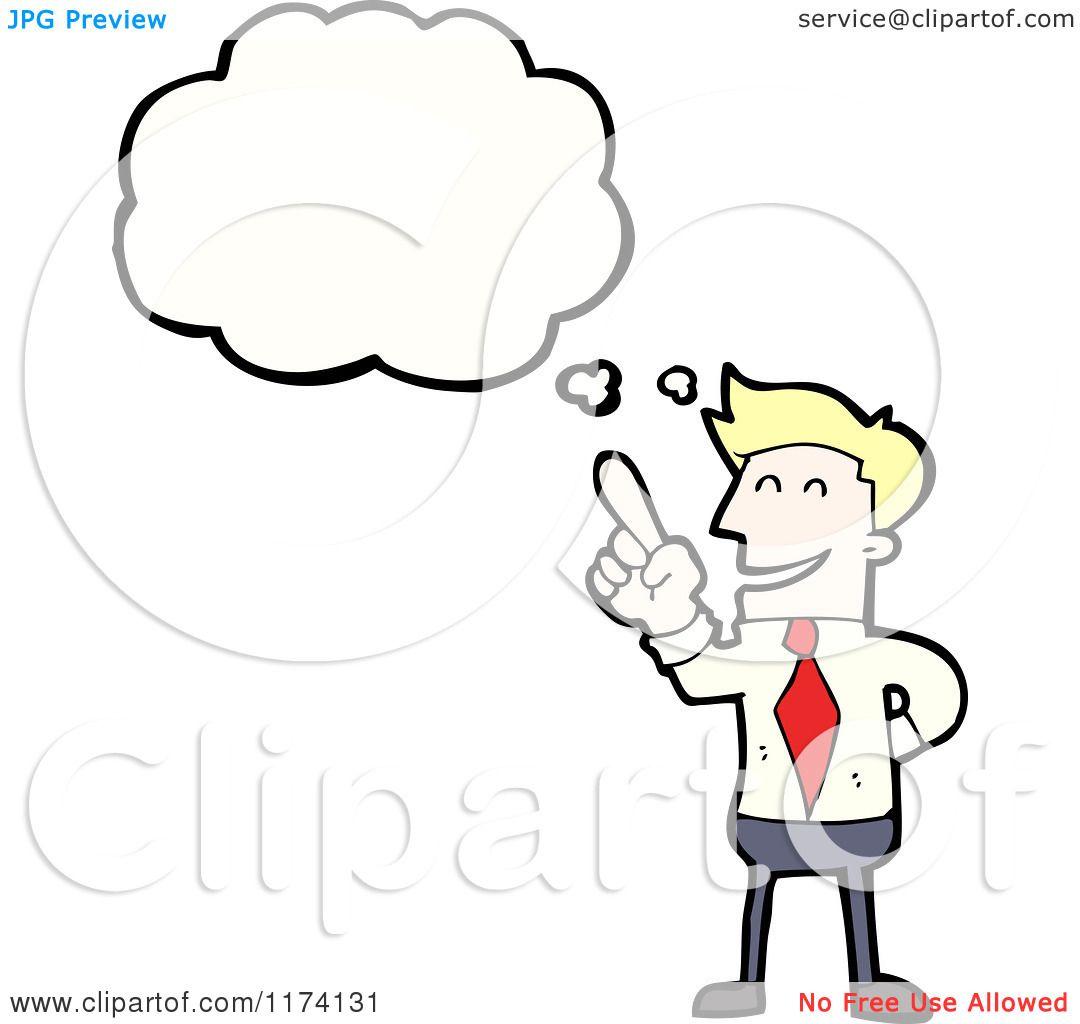 Cartoon Of Blonde Businessman With Conversation Bubble