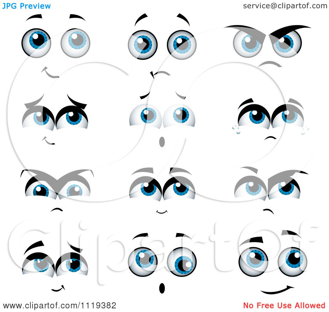 Cartoon Of Expressional Blue Eyes   Royalty Free Vector Clipart by