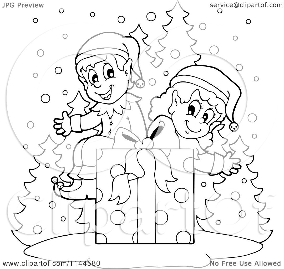 Cartoon Of Happy Black And White Christmas Elves Sitting