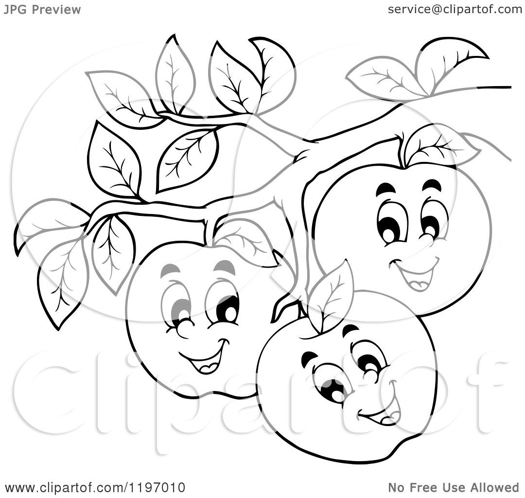Cartoon Of Happy Outlined Apple Characters On A Tree