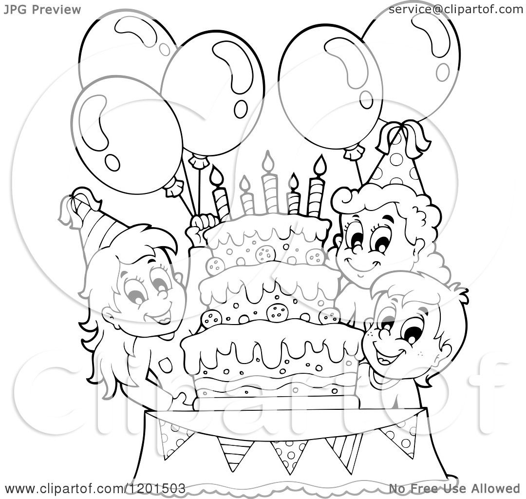 Cartoon Of Happy Outlined Children With Balloons Around A