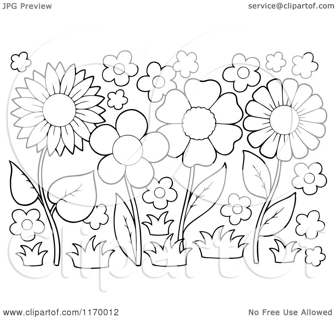 Cartoon Of Outlined Flowers