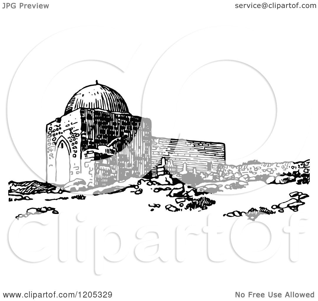 Cartoon Of Vintage Black And White Rachels Tomb Near