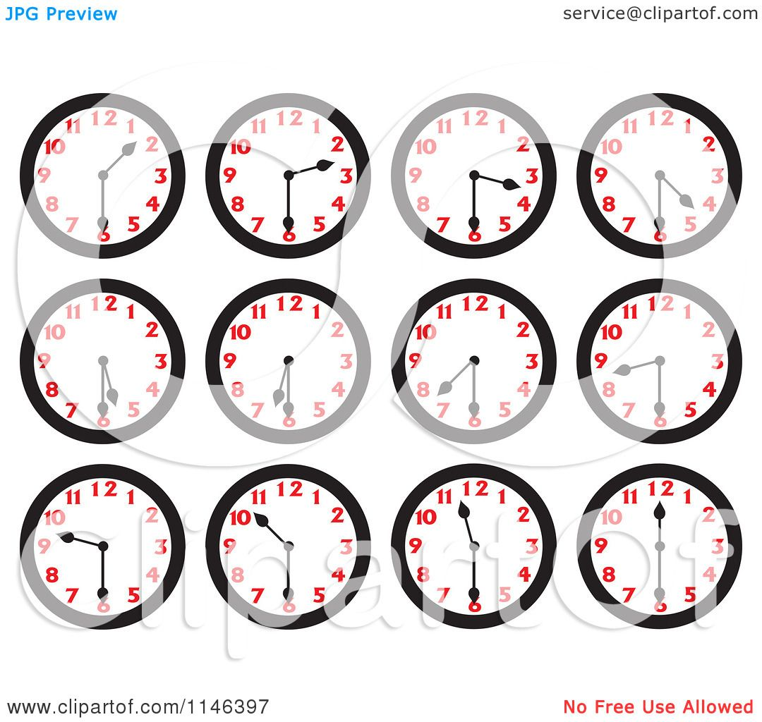 Cartoon Of Wall Clocks On The Half Hours