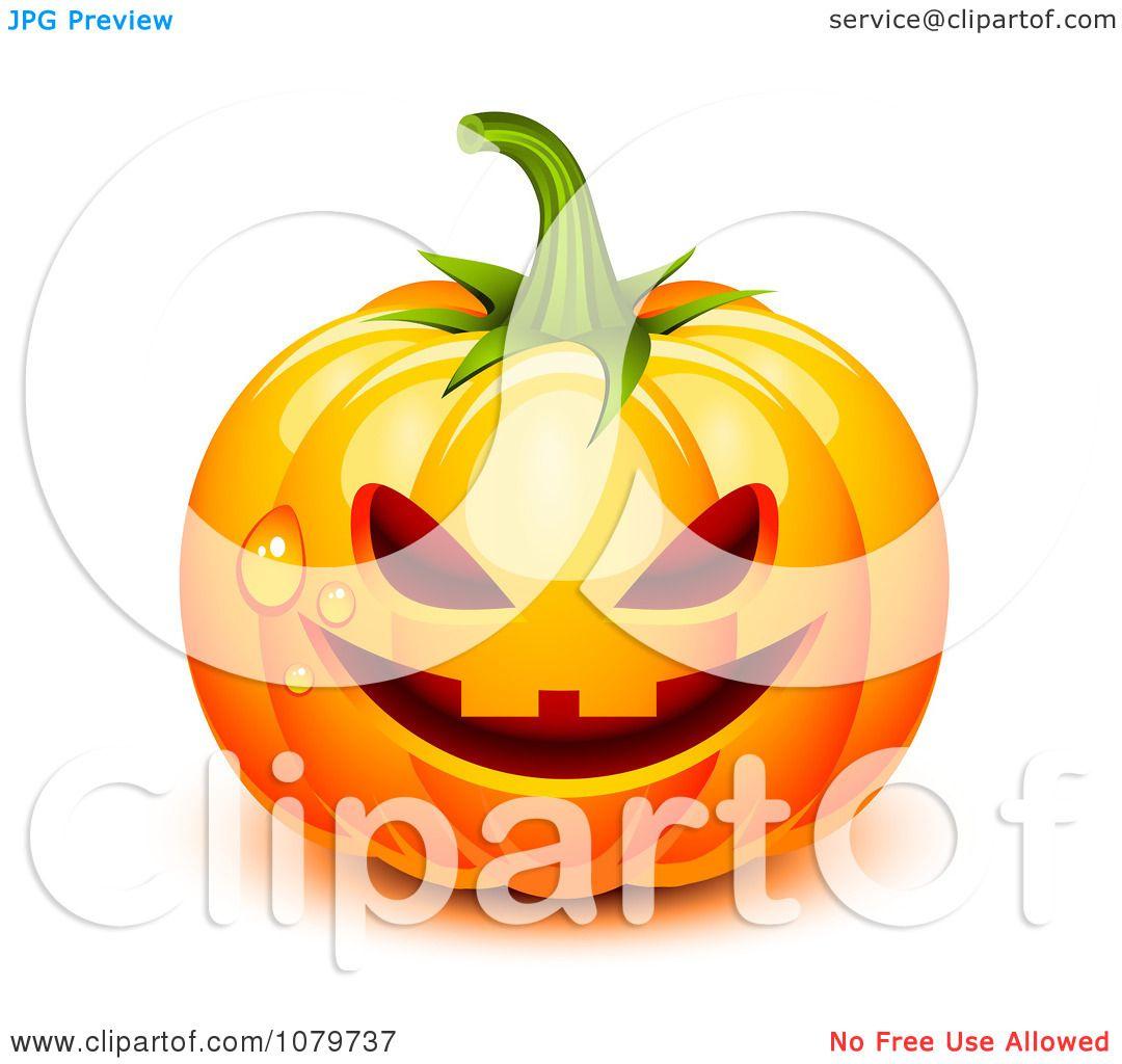 Clipart 3d Dewy Jackolantern Halloween Pumpkin