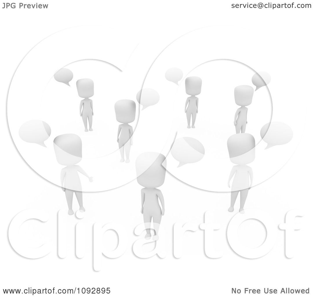 Clipart 3d Ivory People Talking With Speech Balloons