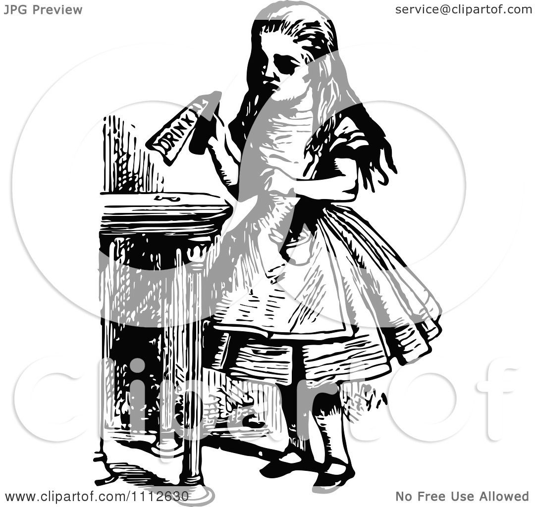 Clipart Alice Holding A Drink Me Bottle Before Entering