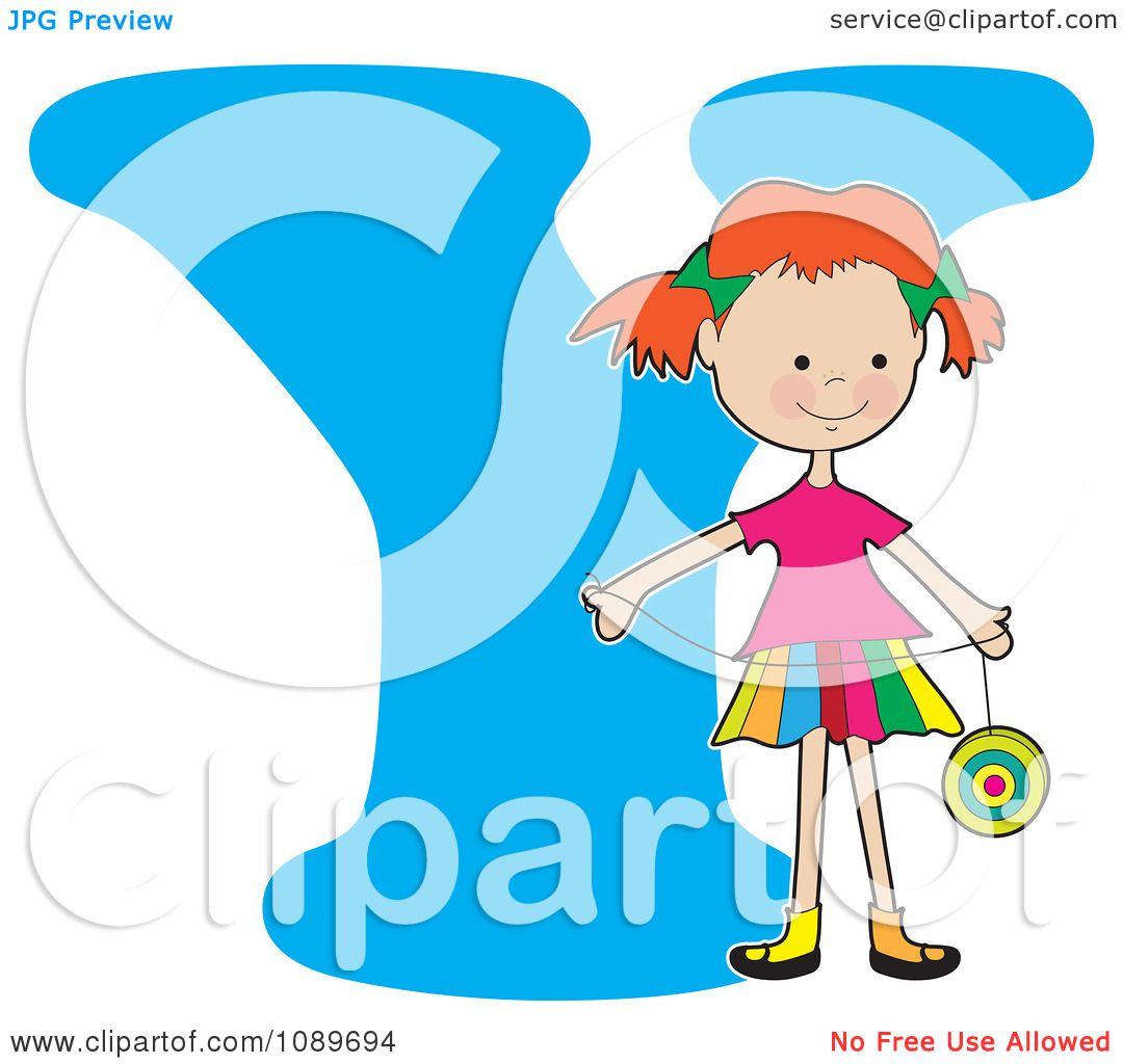Clipart Alphabet Girl Holding A Yo Yo Over Letter Y
