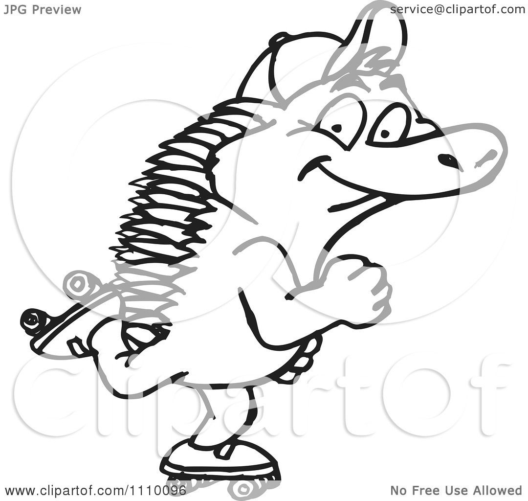 Clipart Black And White Aussie Echidna Roller Skating
