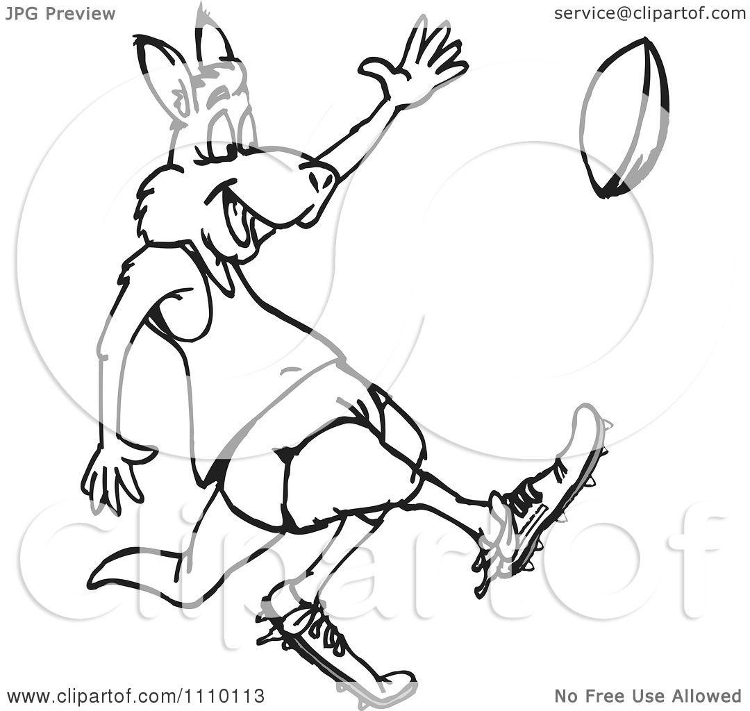 Clipart Black And White Aussie Kangaroo Playing Football