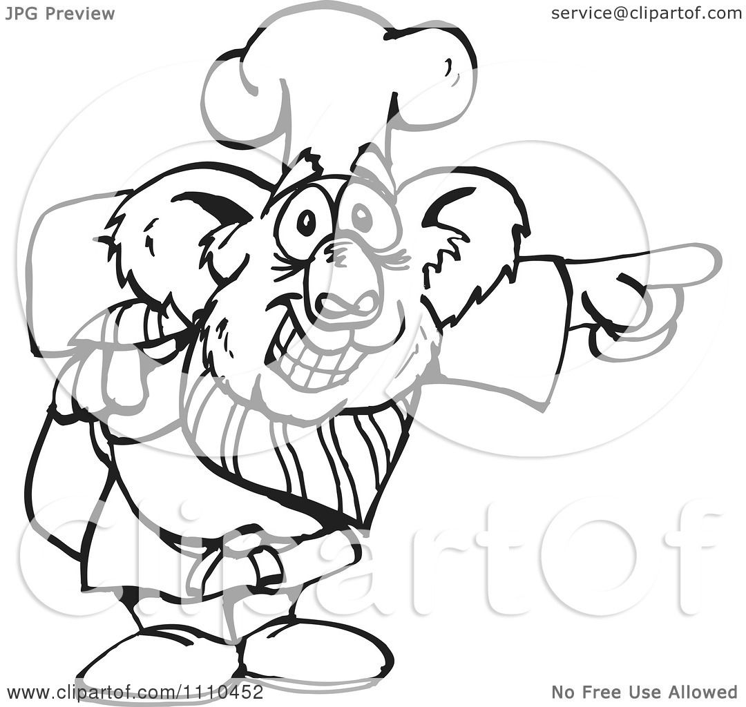 Clipart Black And White Aussie Koala Chef Pointing