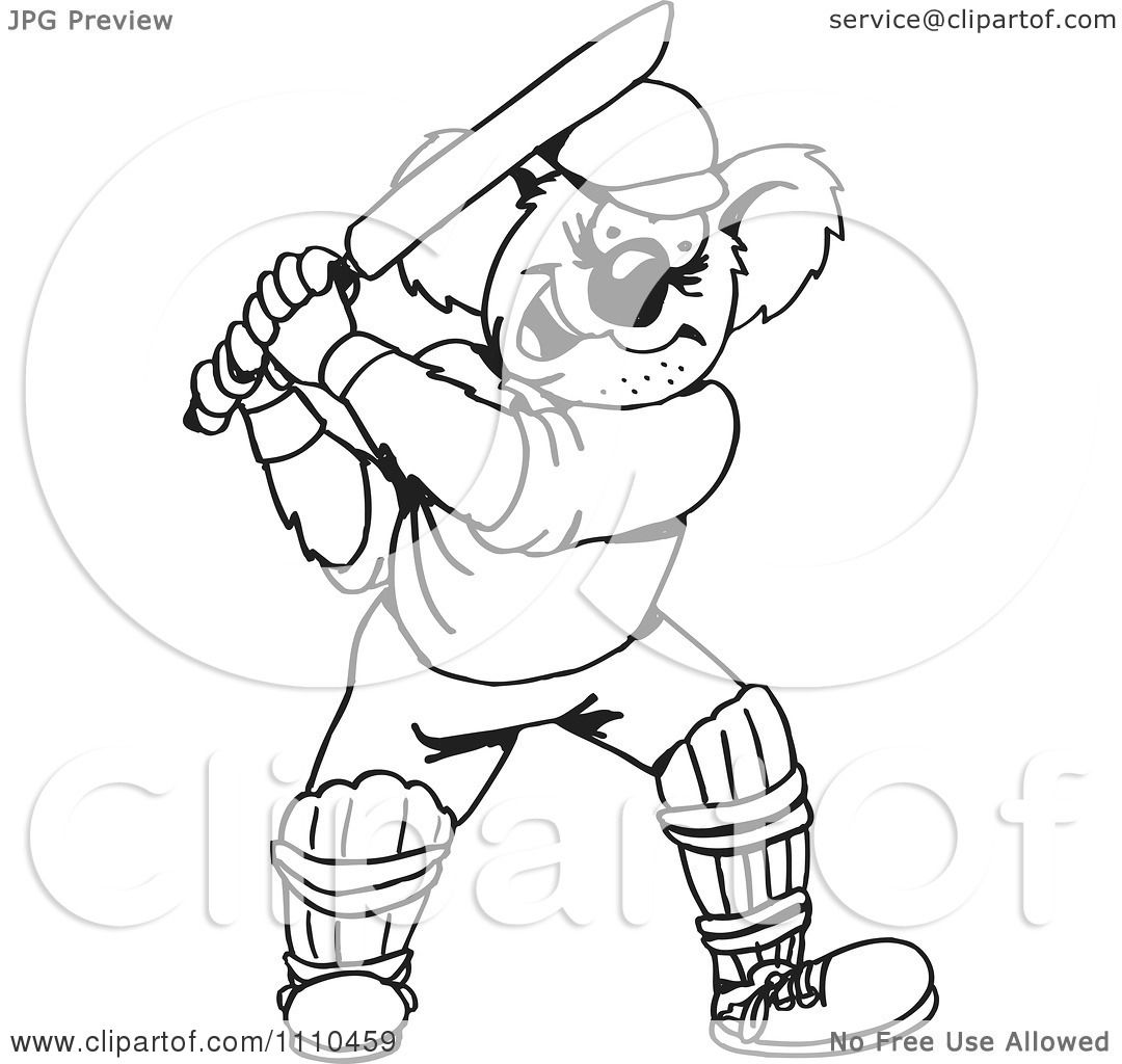Clipart Black And White Aussie Koala Playing Cricket 2