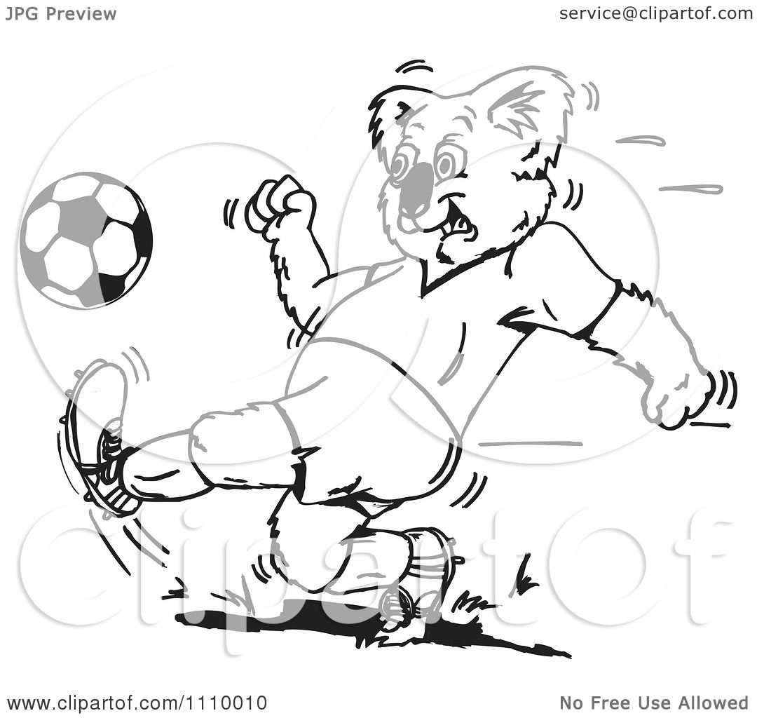 Clipart Black And White Aussie Koala Playing Soccer 1