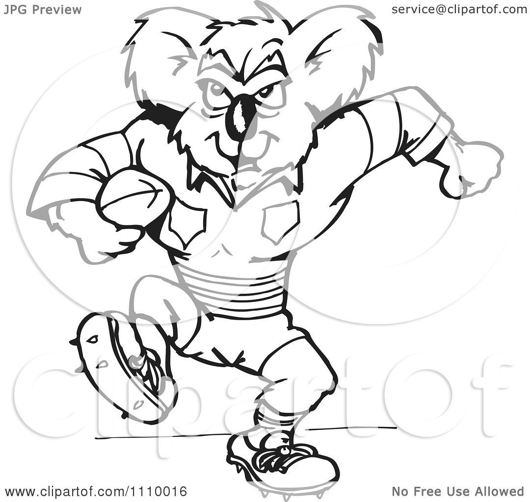 Clipart Black And White Aussie Koala Rugby Player