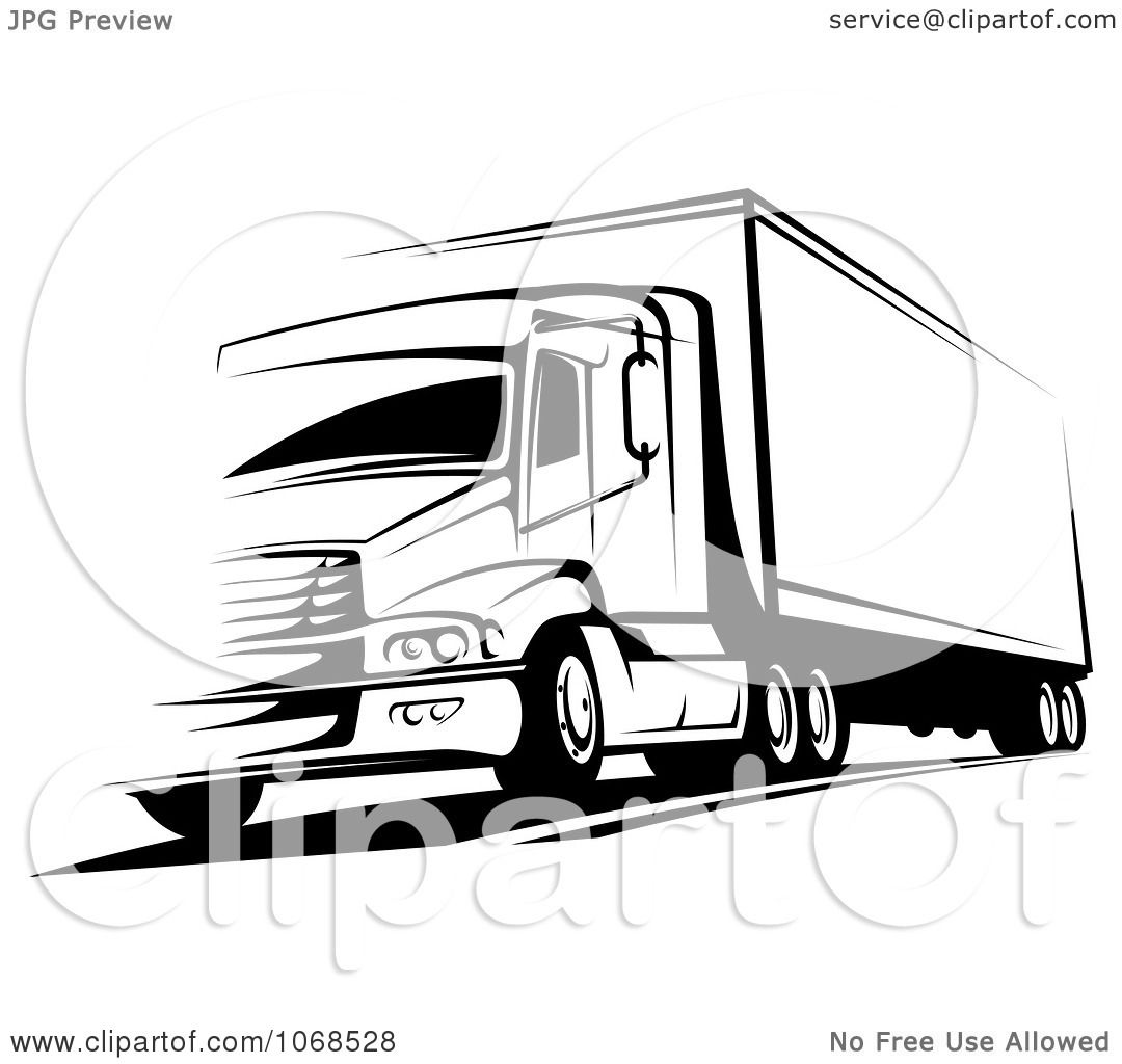 Clipart Black And White Big Rig Truck 2