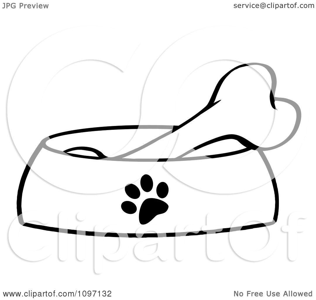 Clipart Black And White Bone In A Dog Bowl Dish