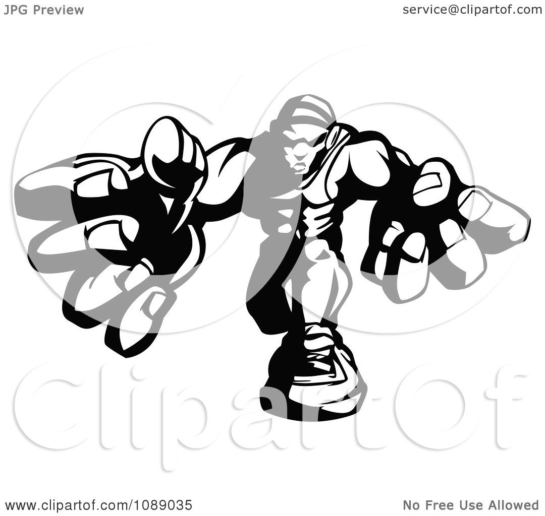 Clipart Black And White Buff Wrestler Lunging Forward