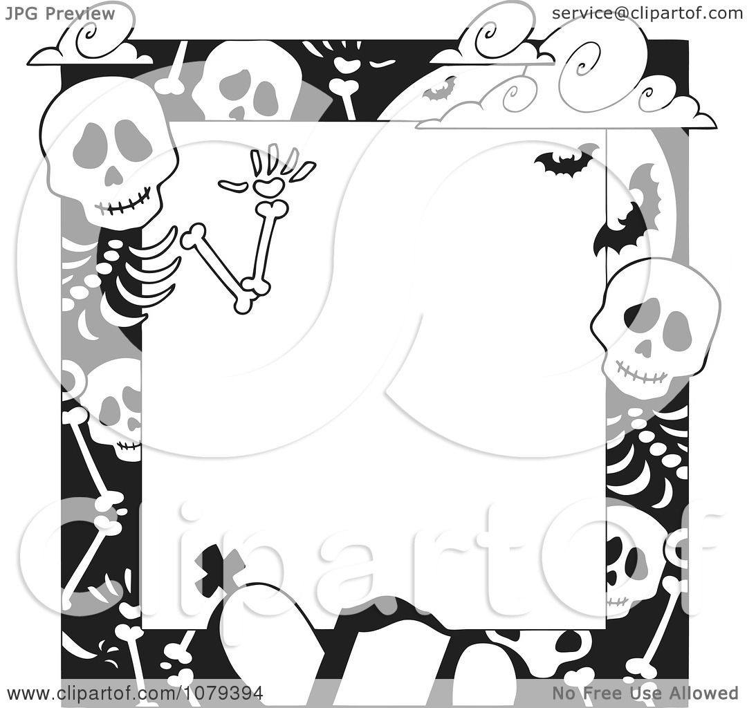 Clipart Black And White Cemetery And Skeleton Halloween Border