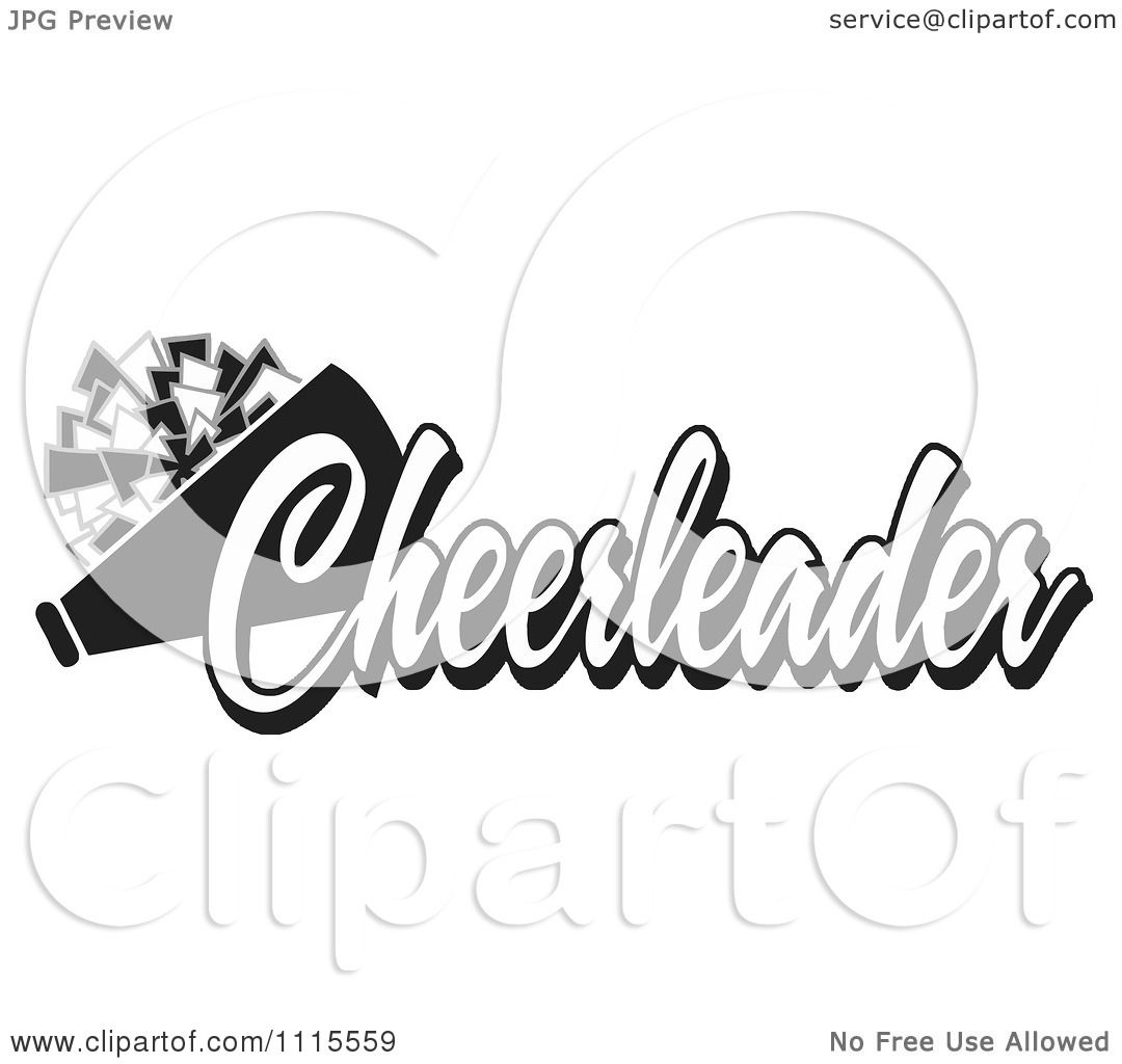 Clipart Black And White Cheerleader Text With A Pom Pom