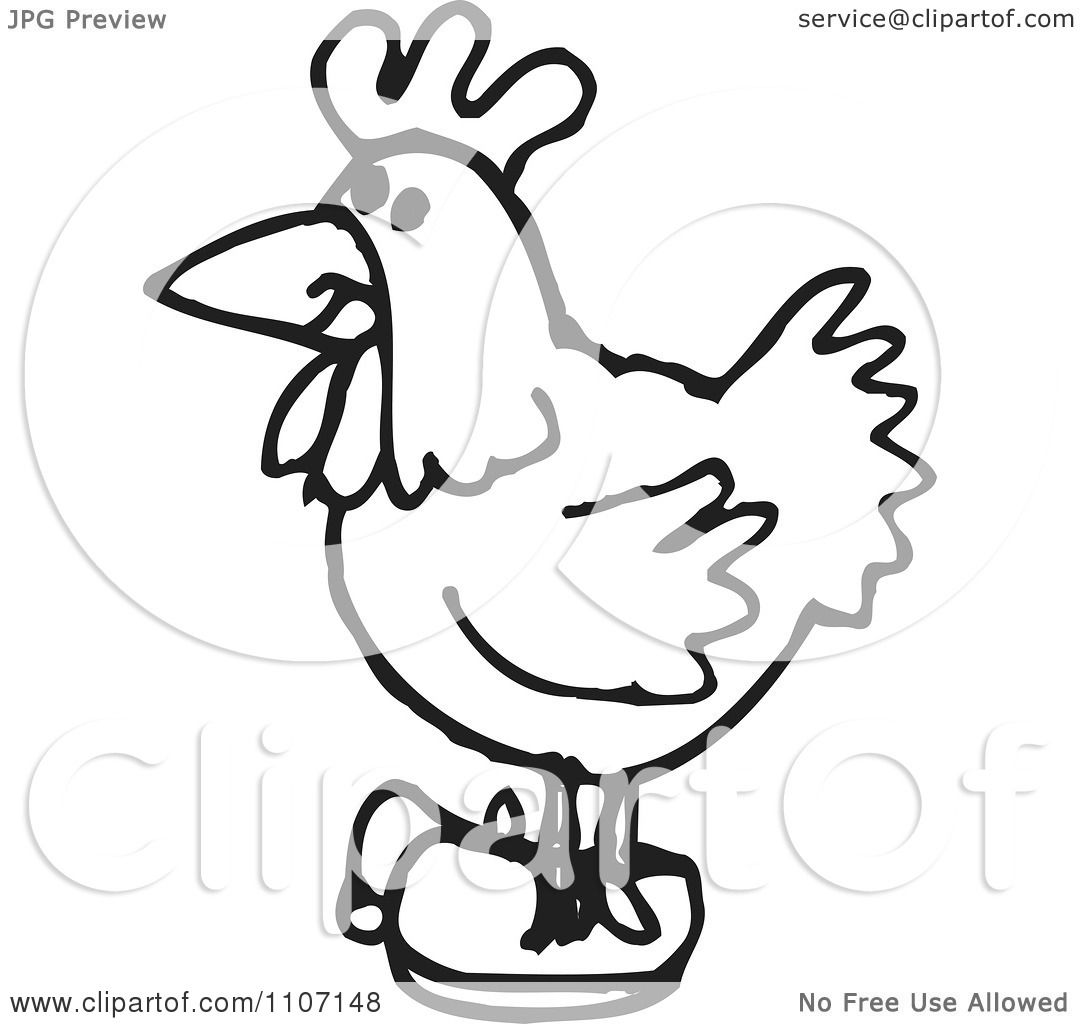 Clipart Black And White Chicken Wearing Shoes