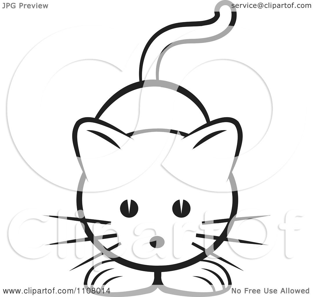 Clipart Black And White Cute Cat
