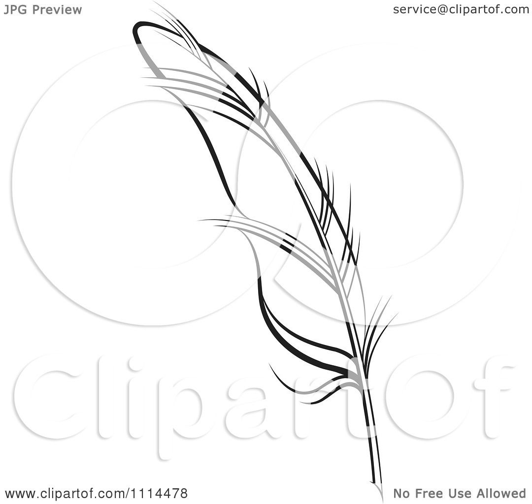 Clipart Black And White Feather Quill