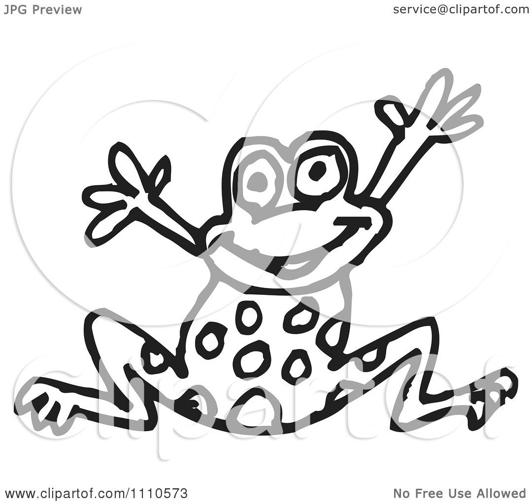 Clipart Black And White Frog Jumping
