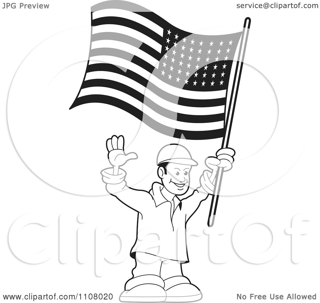 Clipart Black And White Happy Man Holding An American Flag