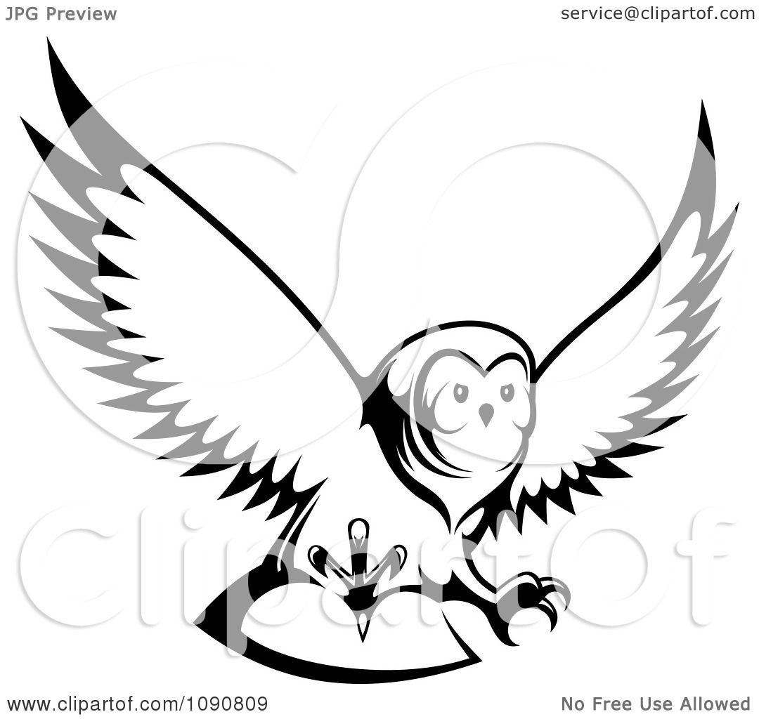 Clipart Black And White Hunting Owl