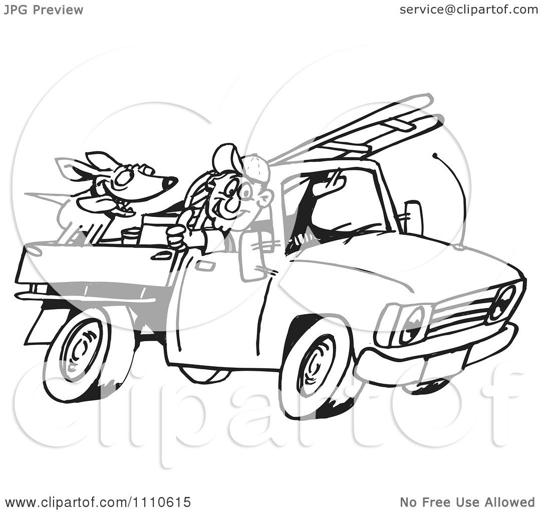 Clipart Black And White Man Driving His Truck With A Dog