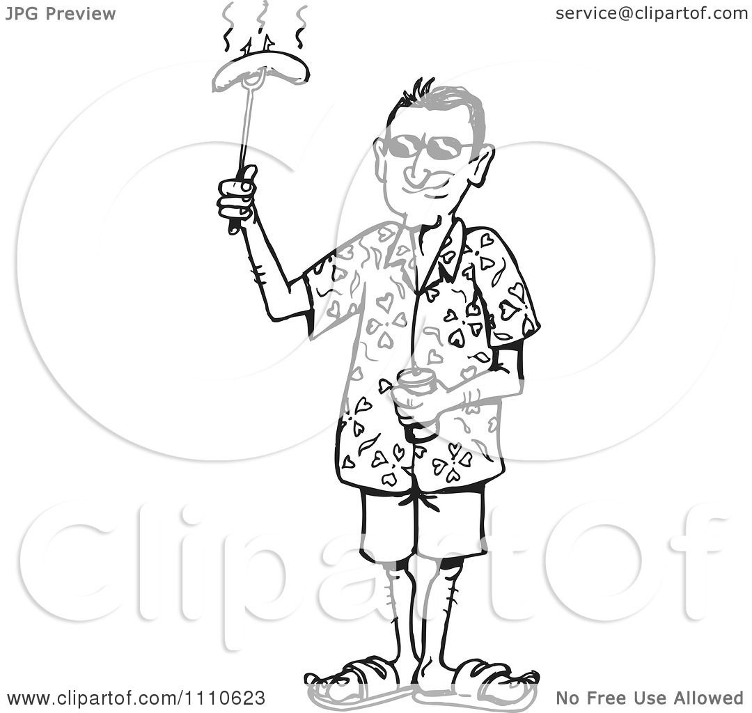 Clipart Black And White Man Holding A Bbq Hot Dog